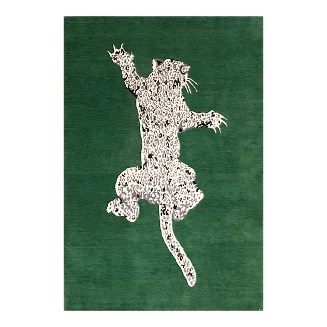 Green Gabeh Fine Leopard Hand Knotted Rug For Sale