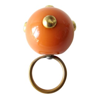 60s Kennth Jay Lane Studded Go Go Ball Ring For Sale