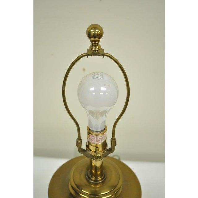 Metal Vintage Ethan Allen Brass & Etched Crystal Glass Table Desk Bedside Table Lamp For Sale - Image 7 of 11