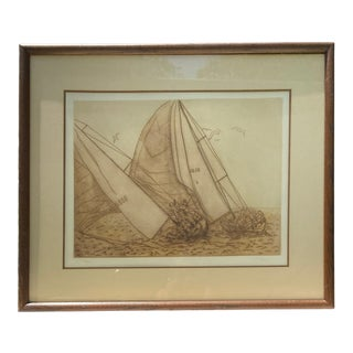 Vintage Numbered & Signed Lithograph of Sailboat Original Yachting Art in Wood Frame For Sale
