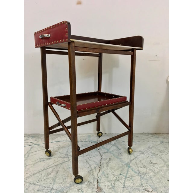 1950s Vintage Leather 2 Tray Bar Cart - Image 5 of 5