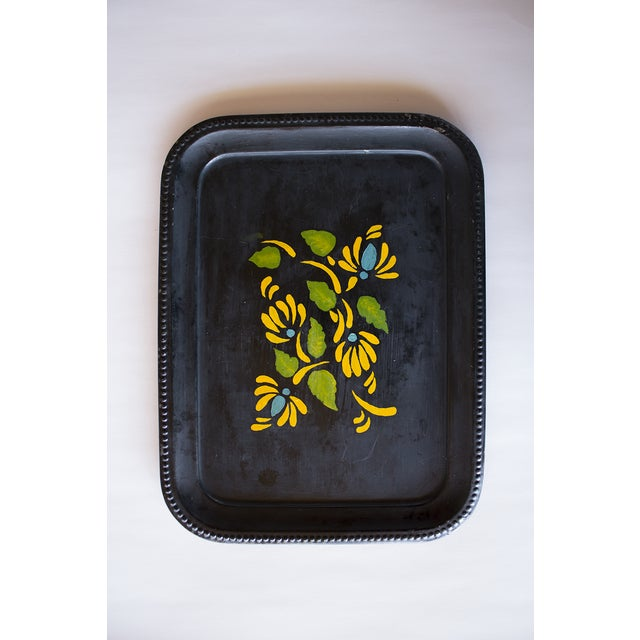 1970s Yellow Flowers Tray - Image 2 of 3