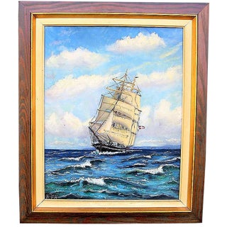 1940's Oil on Canvas Portrait Painting of Danish Ship,