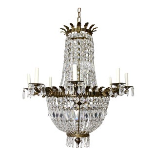 Antique Crystal Cast Bronze Empire Neoclassical French Chandelier Light For Sale