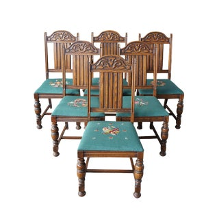 Early 20th Century Antique Jacobean Spanish Revival Oak Carved Dining Chairs- Set of 6 For Sale