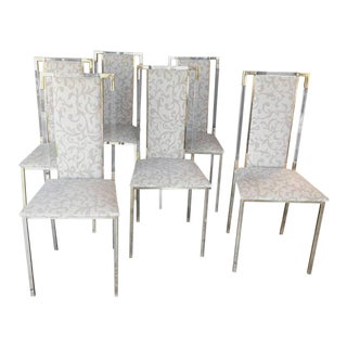 Italian 1960s Set of Six Chairs in Brass and Plexiglass For Sale