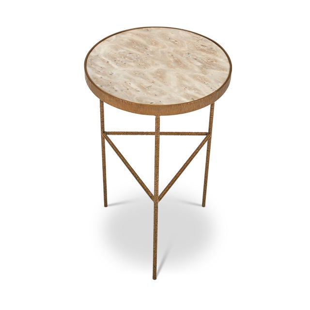 Mid-Century Modern Sophia End Table, White, Antique Brass For Sale - Image 3 of 6