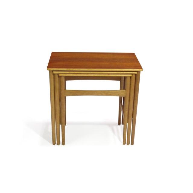Andreas Tuck Hans Wegner Teak and Oak Danish Nesting Side Tables - Set of 3 For Sale - Image 4 of 11