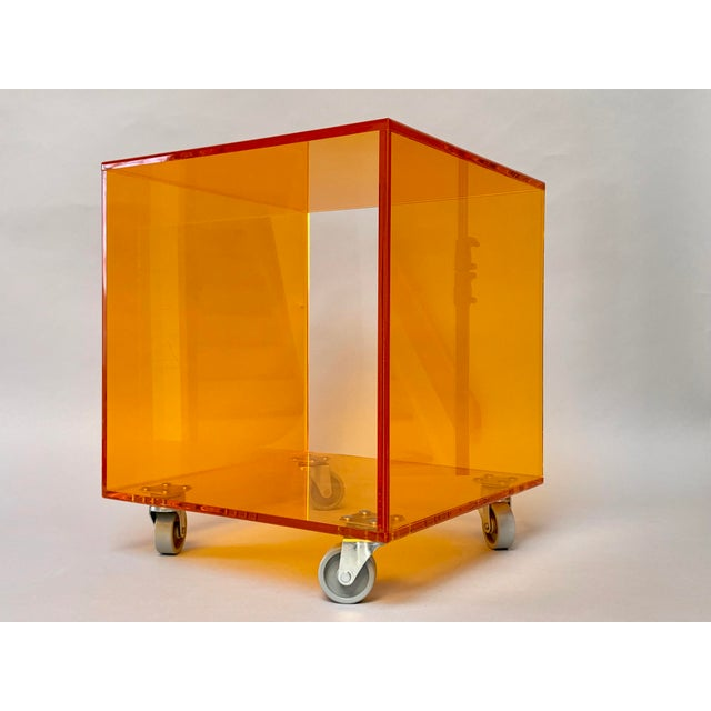 1990s Modern Translucent Orange Lucite Rolling Storage Cube/Side Table on Wheels For Sale - Image 11 of 11