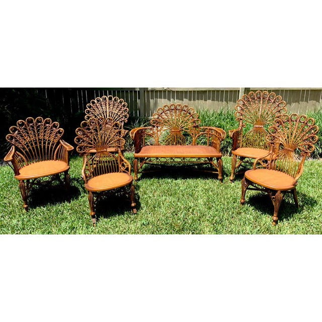 "High Victorian six (6) piece wicker parlour set, attributed to Heywood- Wakefield, each one with woven ""Peacock' backs,..."