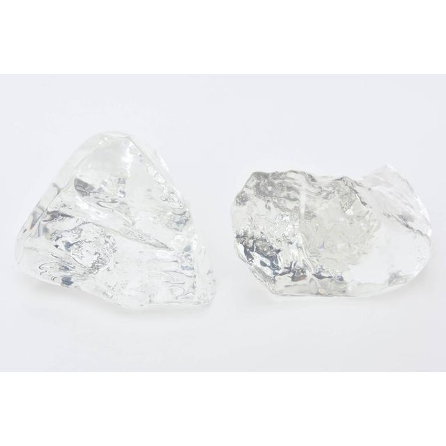Exceptional Pair Of Lucite Rock Ice Sculptures Decaso