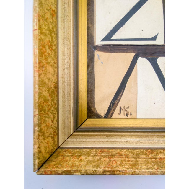 Abstract Abstract Cubist Mixed-Media Painting For Sale - Image 3 of 6