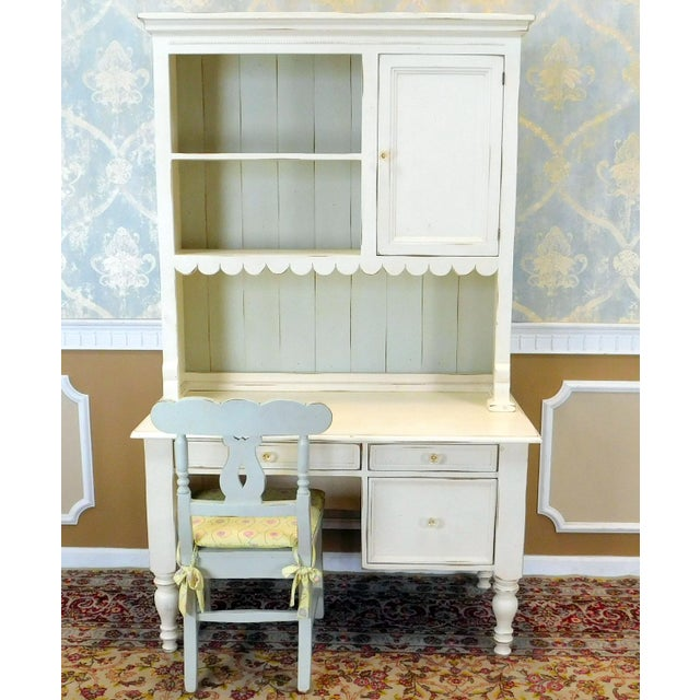 Bradshaw Kirchofer White Hand Crafted Sweat Pea Desk w/ Scalloped Hutch & Chair For Sale - Image 9 of 9