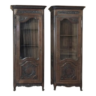 Pair Mirror Image 19th Century Country French Vitrines From Normandie For Sale