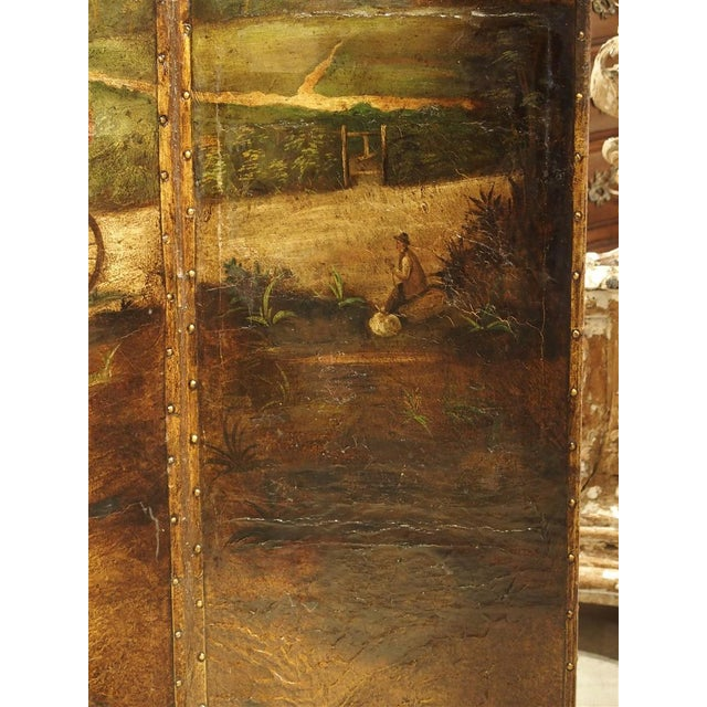 Antique Painted English Four Panel Leather Screen, 19th Century For Sale In Dallas - Image 6 of 13