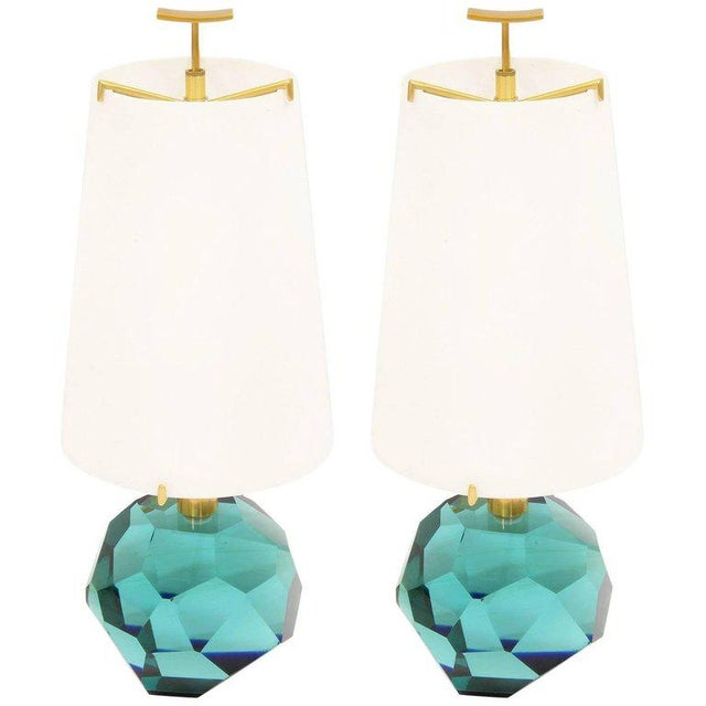 """Brass Pair of Lamps """"Diamante Blu"""" by Roberto Giulio Rida For Sale - Image 7 of 7"""