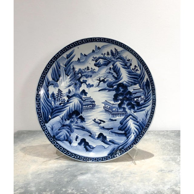 Large Imari Blue and White Charger, Japan 19th Century For Sale In San Francisco - Image 6 of 6