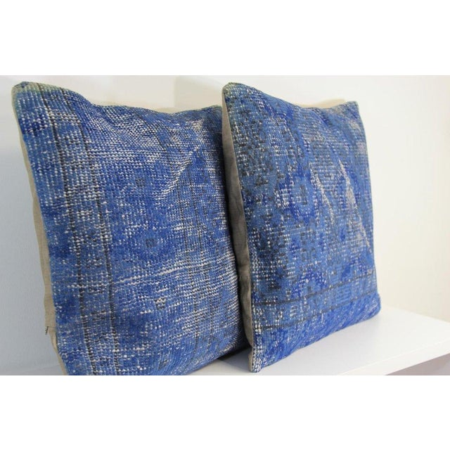 Blue Handmade Over-Dyed Rug Pillow Covers - A Pair For Sale - Image 4 of 4
