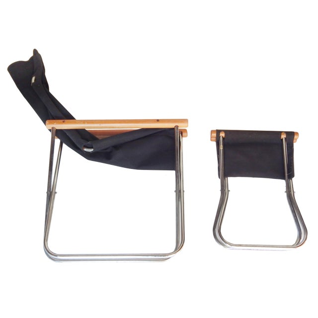 Canvas Canvas Folding Chair and ottoman by Takeshi NII For Sale - Image 7 of 9