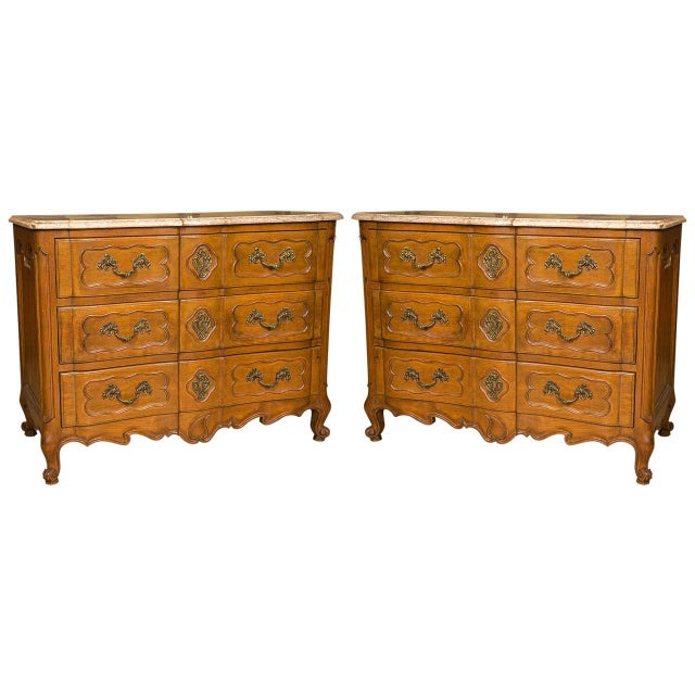 Marble-Top Louis XV Style Commodes - A Pair For Sale - Image 10 of 10