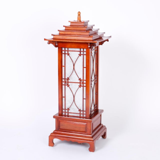 Asian Large Pagoda Table Lamps - A Pair For Sale - Image 3 of 9