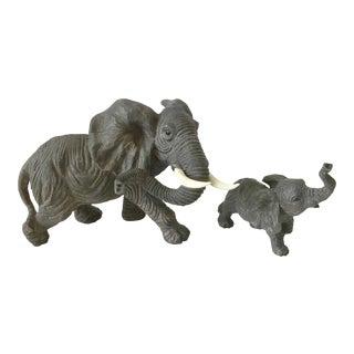 1990s Ceramic Elephant Figurines - Set of 2 For Sale