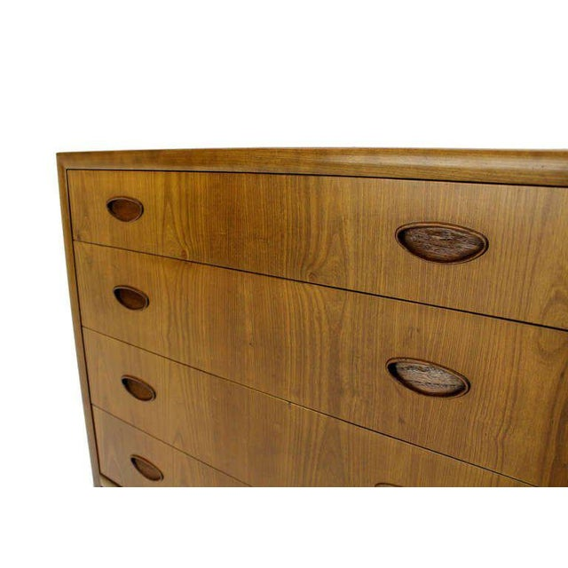 Light walnut low gloss finish Baker mid-century modern bachelor chest.