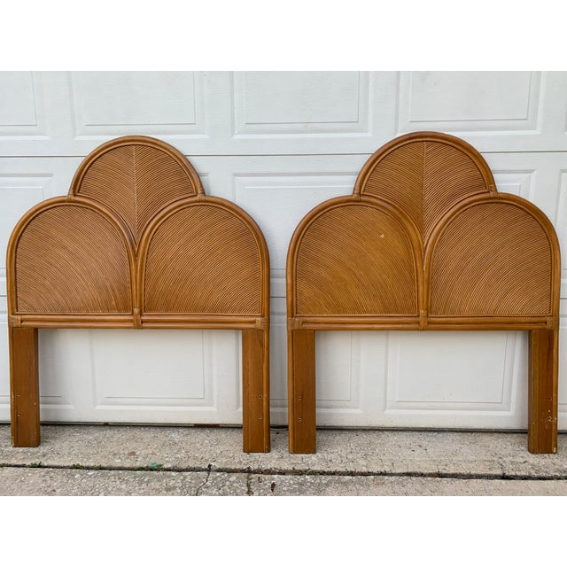 Wood 1970s Split Reed Rattan Twin Headboards in the Manner of Gabriella Crespi - a Pair For Sale - Image 7 of 8