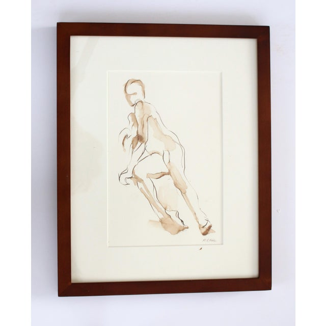 Contemporary Contemporary Original Figure Pen and Ink Drawing of Seated Nude by Michelle Arnold Paine - Framed For Sale - Image 3 of 5