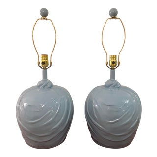 1960s Mid Century Modern Grey Blue Knot Drapery Lamps - a Pair For Sale