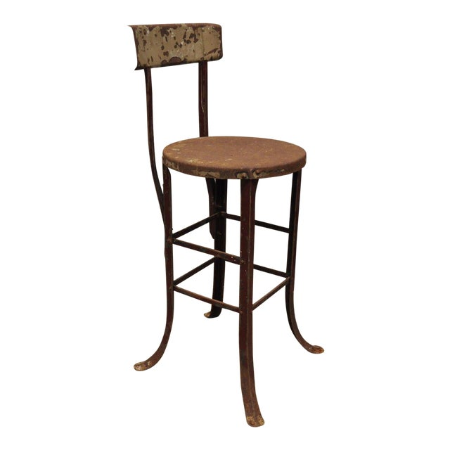 Antique Steel Metal Industrial Drafting Architect Work Stool For Sale