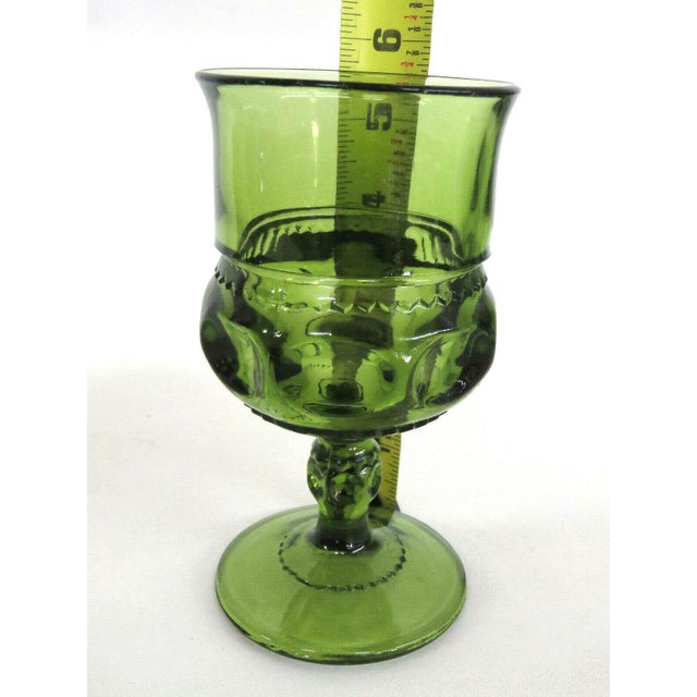 Glass Indiana Glass Kings Crown Thumbprint Green Set of 6 Wine Cordial Goblets For Sale - Image 7 of 11