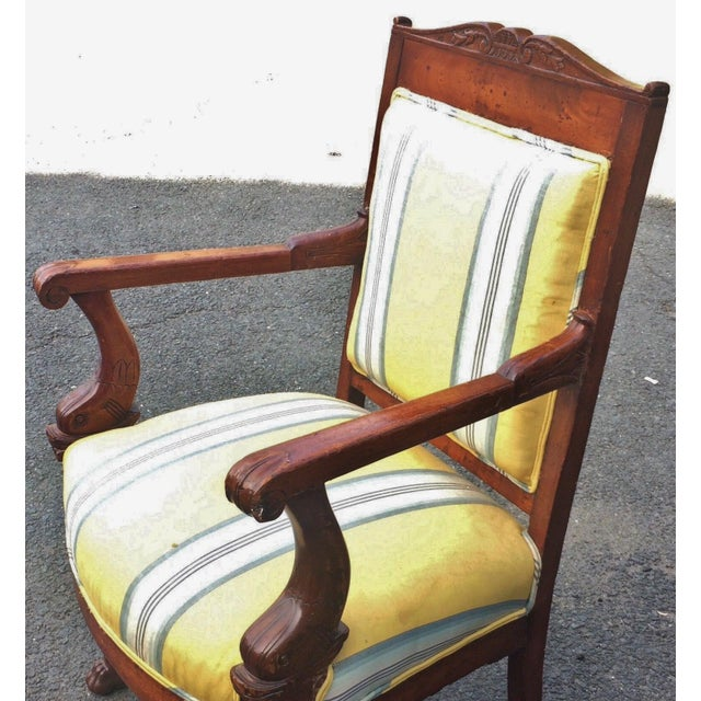 19th Century Napoleonic Mahogany Carved Arm Chair For Sale - Image 10 of 12