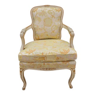 Vintage French Decorative Floral Peach Cream Spring Chair