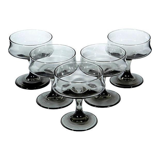 1960s Grey Smoked Glass Coupe Glasses - Set of 5 - Image 2 of 3