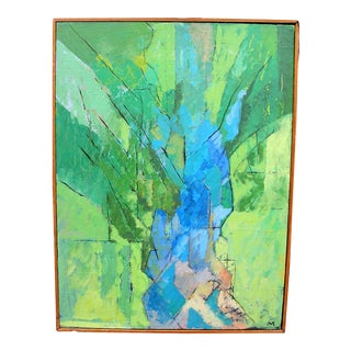 (Last Call, Final Price) 1950's Abstract Oil Painting on Board by John May For Sale