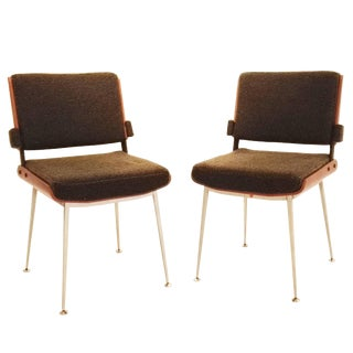 Alain Richard Pair of Mahogany and Fabric Chair, France, 1960s, Ipso Facto For Sale