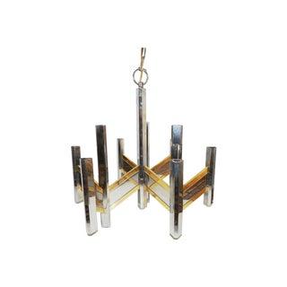 Sciolari Chrome & Brass Chevron Chandelier