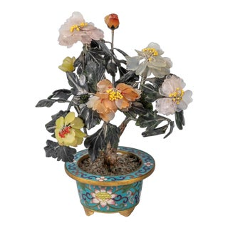 Early 20th Century Early Century Chinese Jade and Cloisonne Bonsai Tree For Sale
