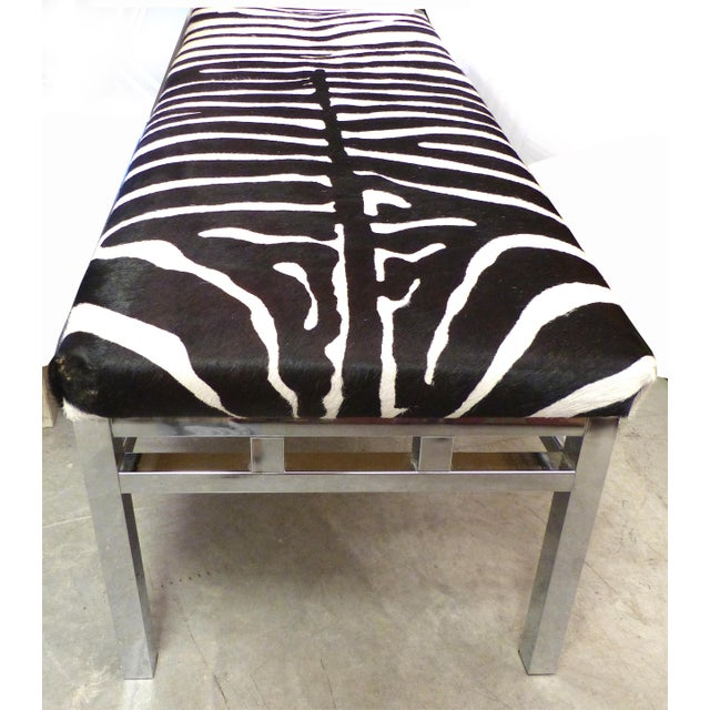 This is a great Mid-Century Chrome Bench, newly reupholstered in Zebra Hide. The bench has a classic 1970's look to it,...