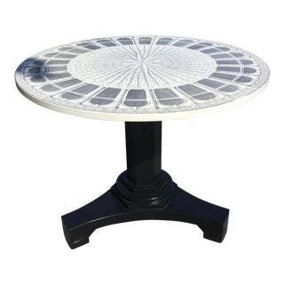 1990's Vintage Piero Fornasetti Architettura Art Deco Round Table For Sale