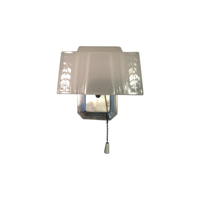 Art Deco Sconces With Glass Shades - A Pair - Image 1 of 6