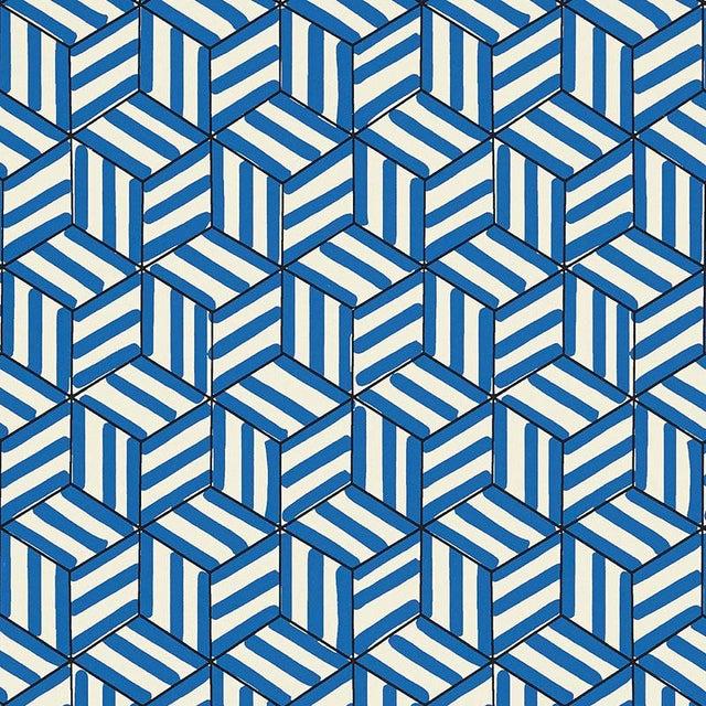 Contemporary Sample - Schumacher Tumbling Blocks Geometric Stripes Wallpaper in Cobalt Blue For Sale - Image 3 of 3