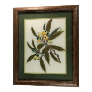 Handmade Needlepoint Eucalyptus Branch Art For Sale