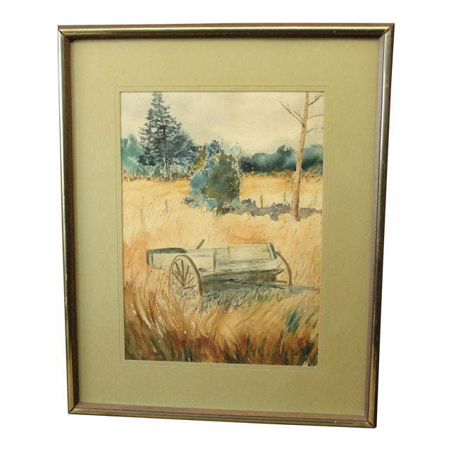 Impressionist Landscape Watercolor Painting For Sale