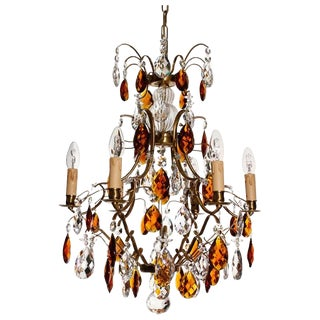 Baroque Cognac 6 Arm Electrical Candle Chandelier For Sale