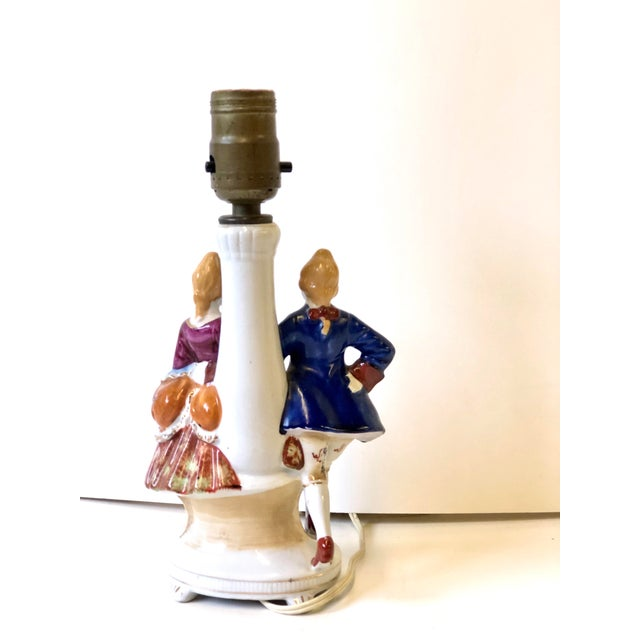 Porcelain Lamps With Musician and Dancer Figurines - Set of 3 For Sale - Image 12 of 13