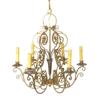 French Gilt Metal Chandelier For Sale