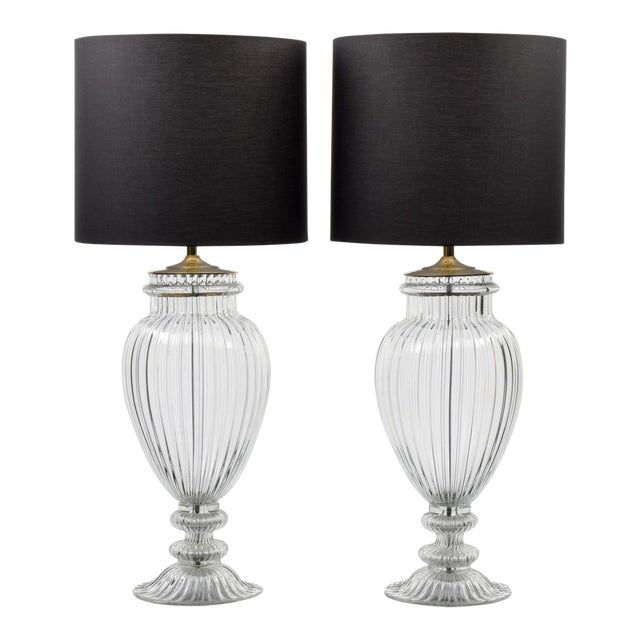 Vintage Mid Century Barovier & Toso Style Monumental Murano Lamps- A Pair For Sale - Image 9 of 9