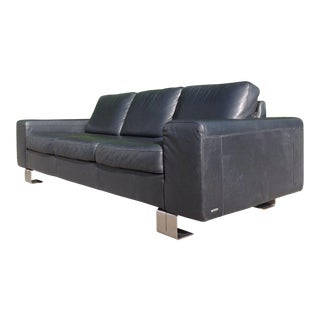 Modern Natuzzi Italia Leather Sofa With Metal Legs For Sale